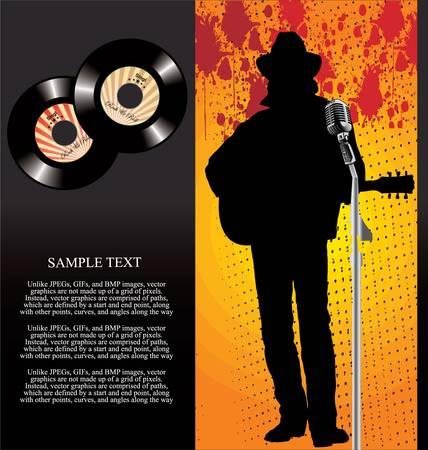 country music: Retro 45 giri Musicista di fondo