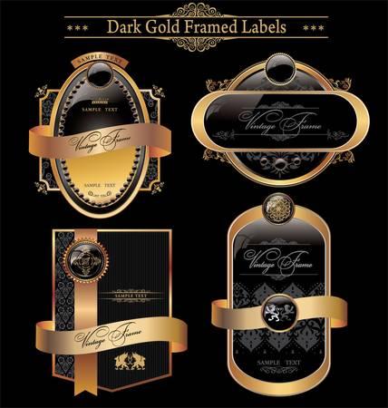 framed: black gold framed labels