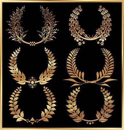laurel leaf: Golden laurel wreaths - Set Illustration
