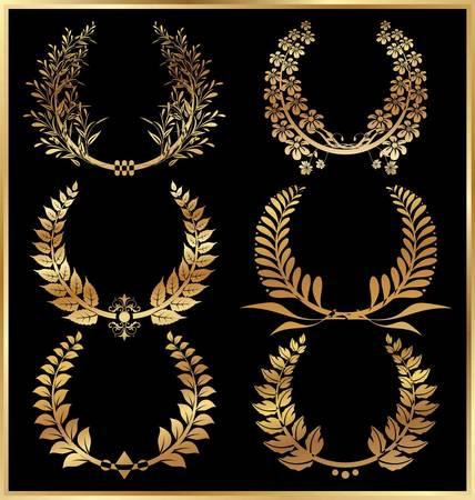 golden laurel wreath: Golden laurel wreaths - Set Illustration
