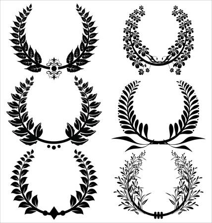 laurel leaf: laurel wreaths Set