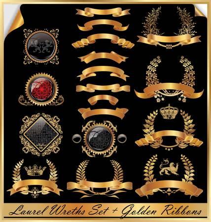 golden ribbon: Golden laurel wreaths - Set Illustration