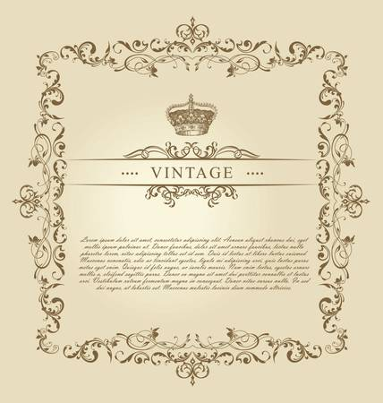 Vintage Frame Decor Ornament Stock Vector - 9746833