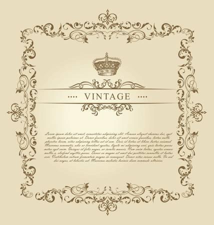Vintage Frame Decor Ornament Stock Vector - 9746833