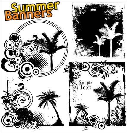 bannières grunge d'été Vecteurs