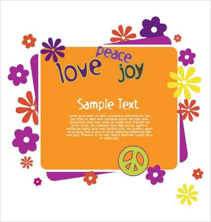 figli dei fiori: Illustrazione di gioia pace amore Vettoriali