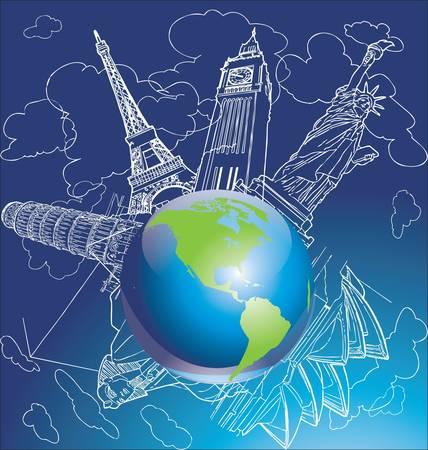built tower: Por todo el mundo Vectores