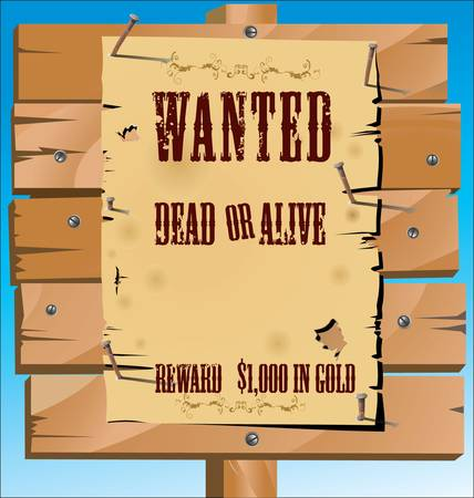 alive: Wanted on old paper background