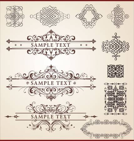 calligraphic design set Vector