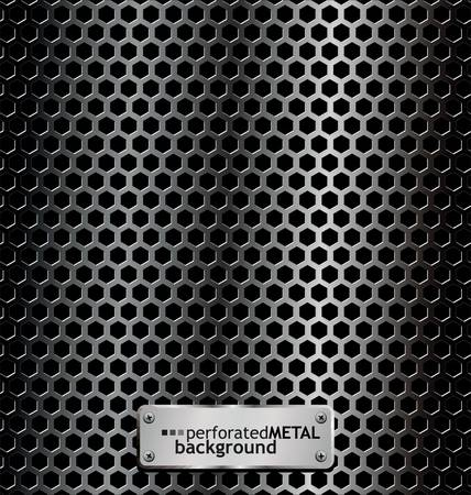 Perforated metal background Stock Vector - 9857987