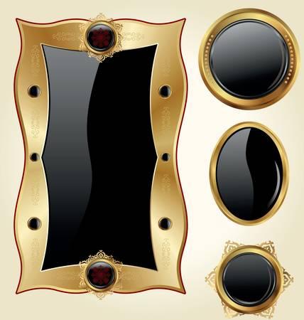 Golden Frames Stock Vector - 9857541