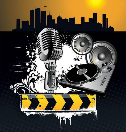 trash danger: Urban music grunge banner Illustration