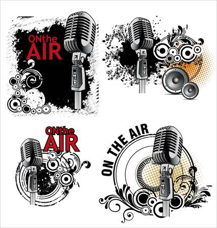 radio microphone: On the air - grunge banners set Illustration