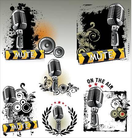 microfono radio: Definir en el aire - banners grunge