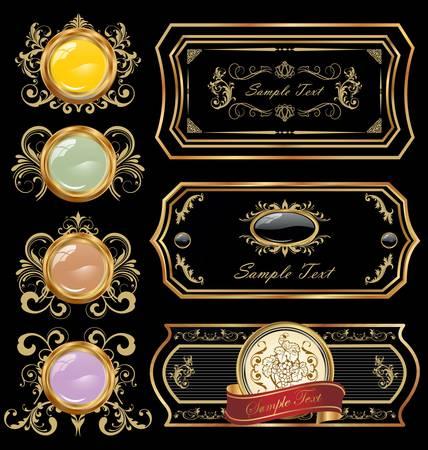fleur: Decorative black golden labels