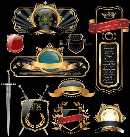 corona navidad: Conjunto de marcos de lujo dorado