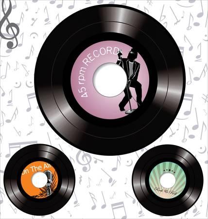 retro 45 rpm record labels Vector