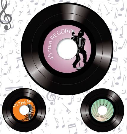 50s: retro 45 rpm record labels