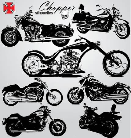 chopper motorcycles silhouetes Stock Vector - 9946032