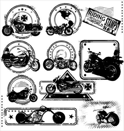 biker: Motorbike stamps-set Illustration