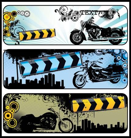 speed ride: Biker grunge banners Illustration