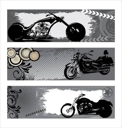 motor cycle: grunge motorbike banners