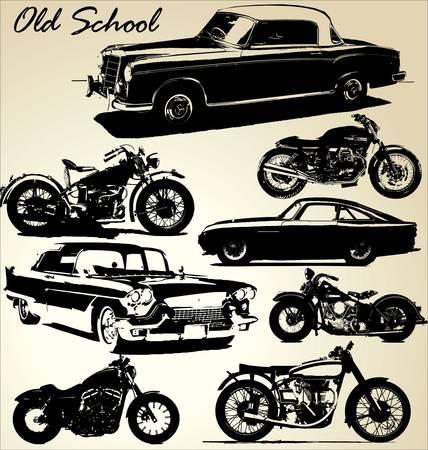 автомобили: Старые автомобили и мотоциклы школы Иллюстрация