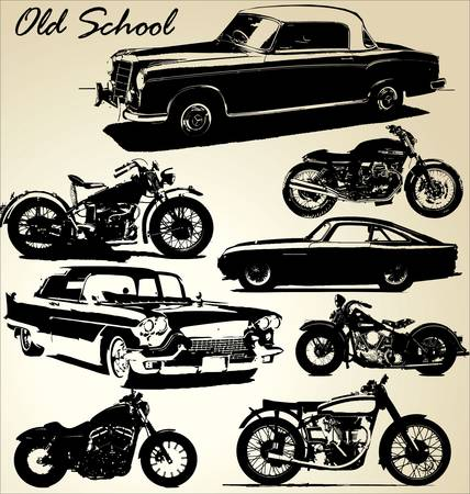 transportation silhouette: Old School cars and motorbikes Illustration