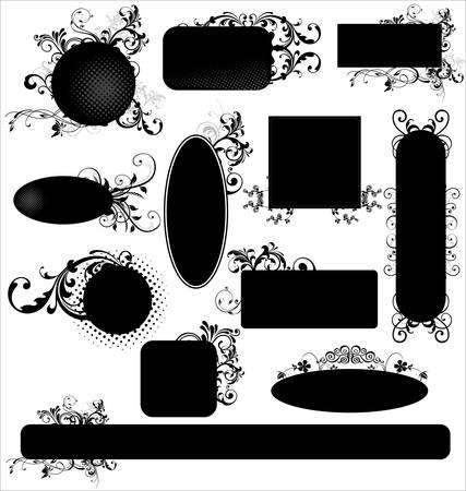 arabesque antique: Black floral frames - set