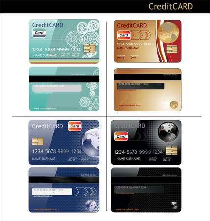 debit cards: credit cards, front and back view