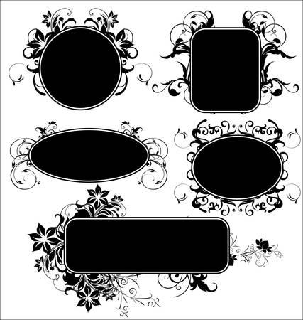 flower banner: black floral frames