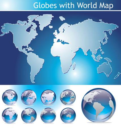 asia pacific map: Globes with World Map