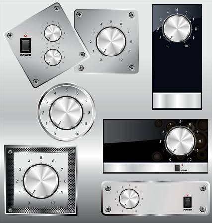knob: Volume knob with calibration on metal plate Illustration