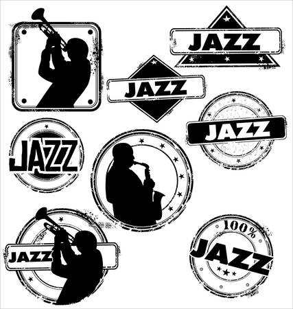 saxophonist: Grunge jazz musician stamps Illustration