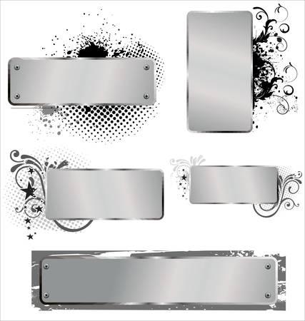 steel frame: Shiny grunge alluminium banners Illustration