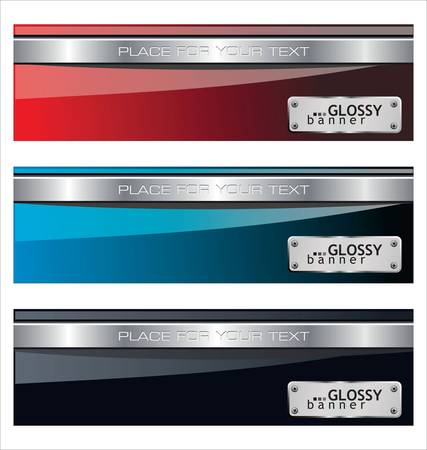 glossy metallic banners Vector