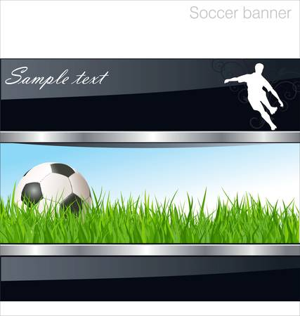fast ball: Soccer banner Illustration