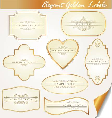 golden labels with calligraphic elements Vector