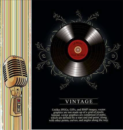retro music poster with Stock Vector - 10594799