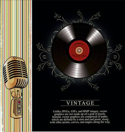 vinyl records:  retro music poster with