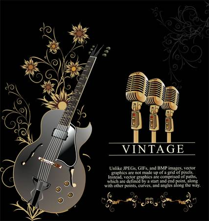 retro music poster with Stock Vector - 10594803
