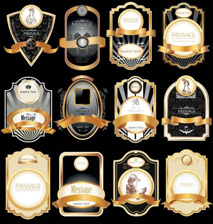 coat of arms  shield: gold-framed labels