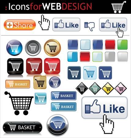 Web buttons Stock Vector - 10651472