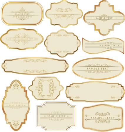 label: Set van gouden labels