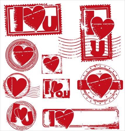 declaration of love: Stamp of Love - Various Stamps  Illustration