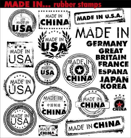 china stamps: Made In - rubber stamps Illustration