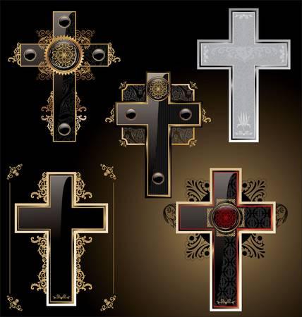Elegant crosses - set Vector