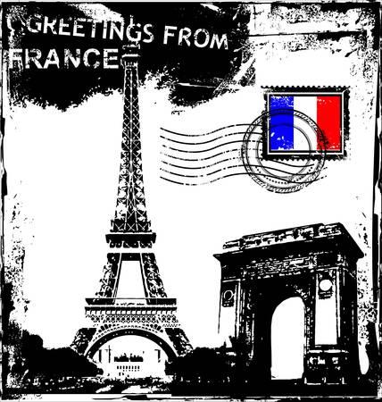 timbre voyage: Arrière-plan de Paris-France. Illustration
