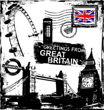 bandera inglaterra: conjunto de s�mbolos de Londres grunge