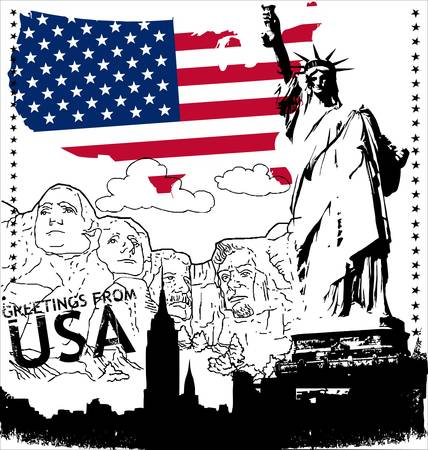 citizenship: grunge rubber stamp with the flag of USA  Illustration